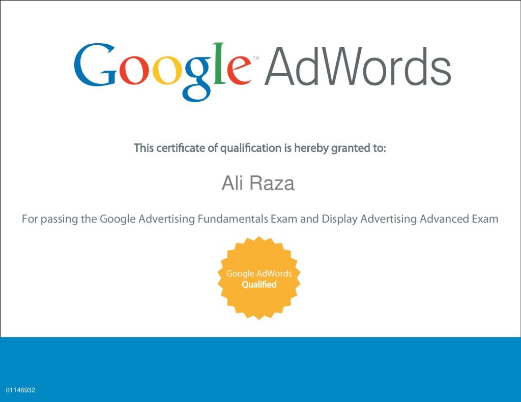 About me aliraza google adwords certificate xflitez Gallery