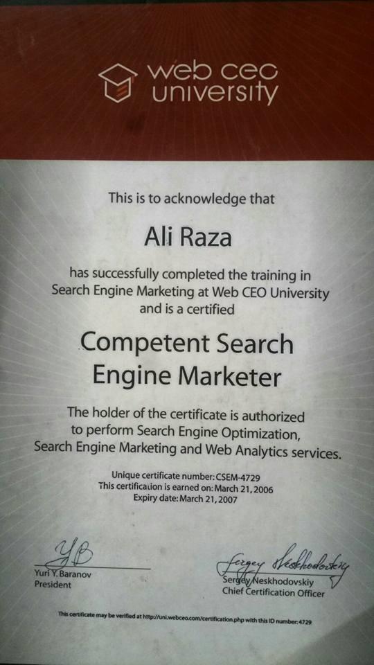 webceo seo certificate ali raza