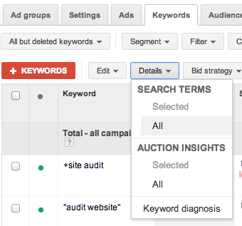 negative search terms adwords