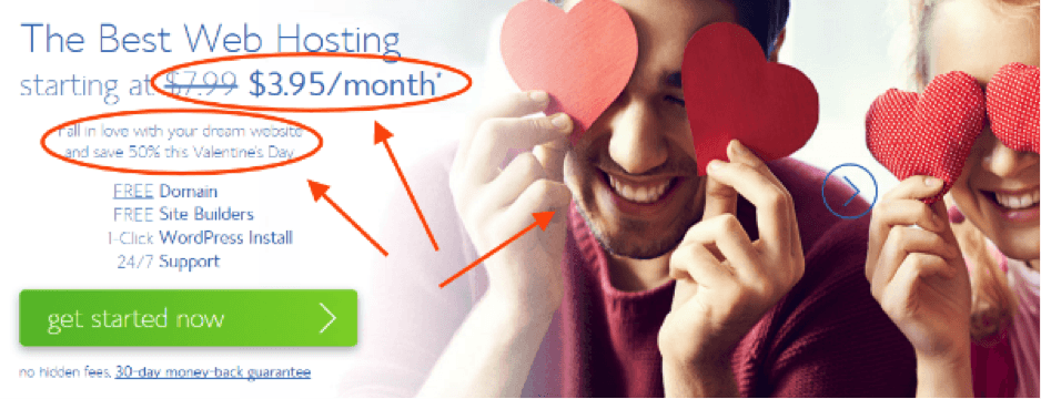 bluehost valentine deal