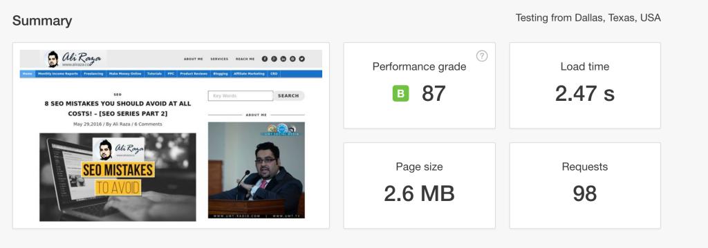aliraza.co website speed test