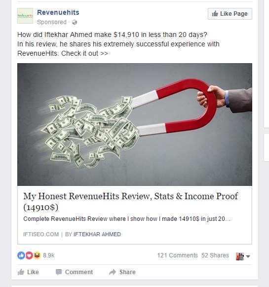 Revenuehits promoting Iftikhar ahmed review