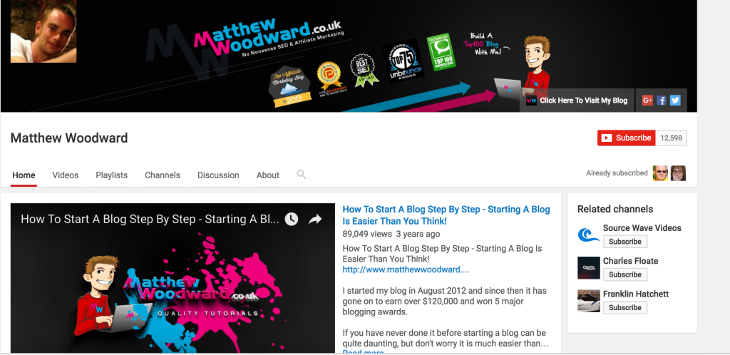 matthew wood ward youtube channel affiliate marketing example