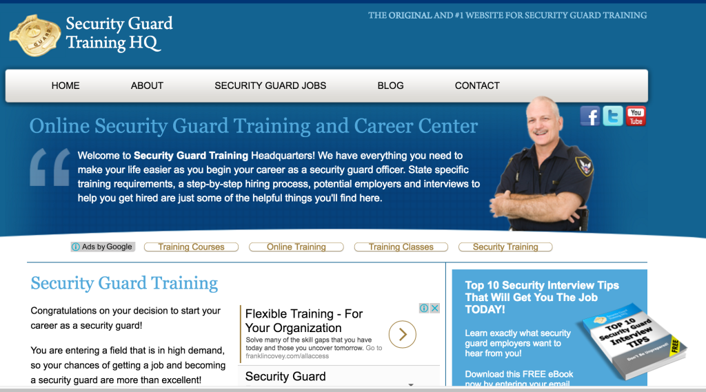 Securityguardtraininghq.com example on how to start affiliate marketing