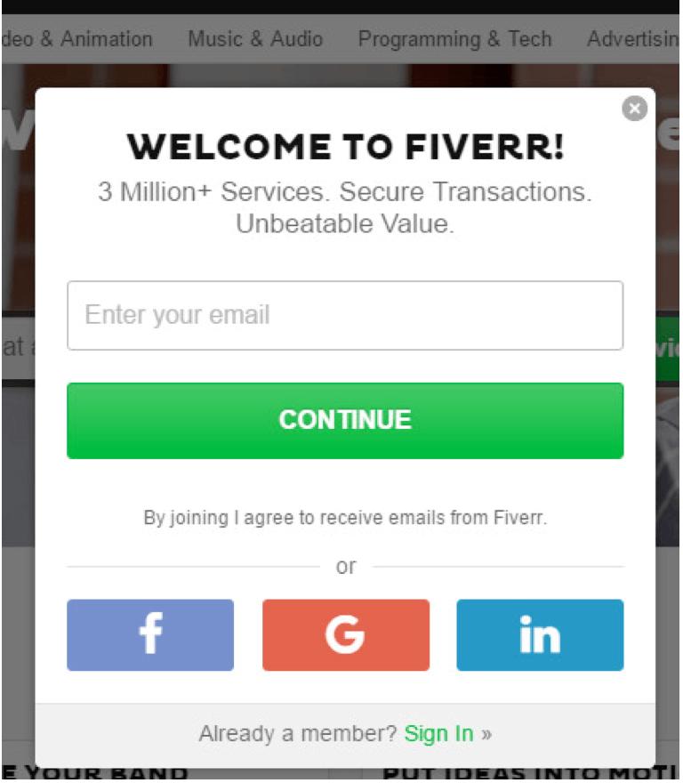 fiverr signup
