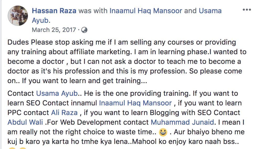 SEO and PPC Training ali raza testimonials