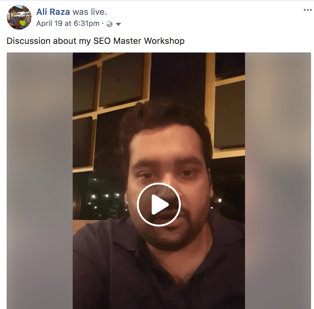 facebook live aliraza.co