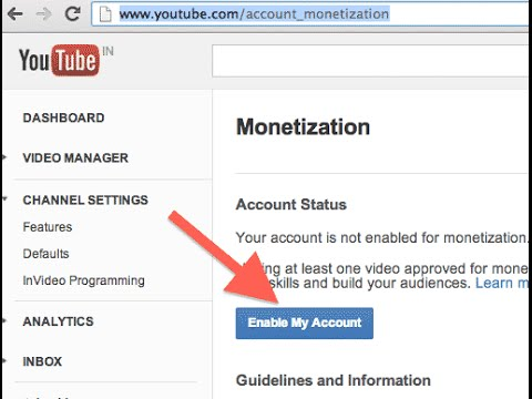 enable monetization on your youtube channel