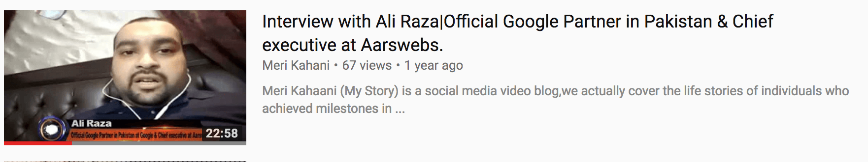 ali raza interview for how to rank youtube video example youtube seo