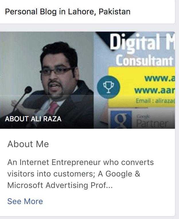 facebook brand building example aliraza.co