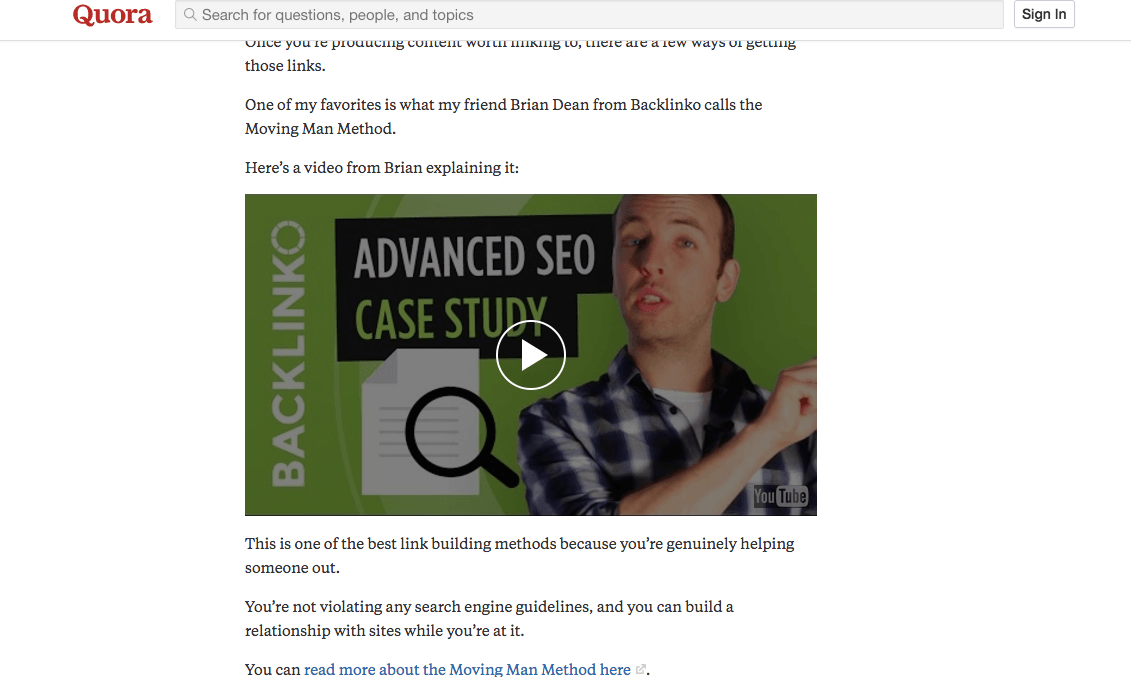 backlinko sharing video on quora youtube seo guide