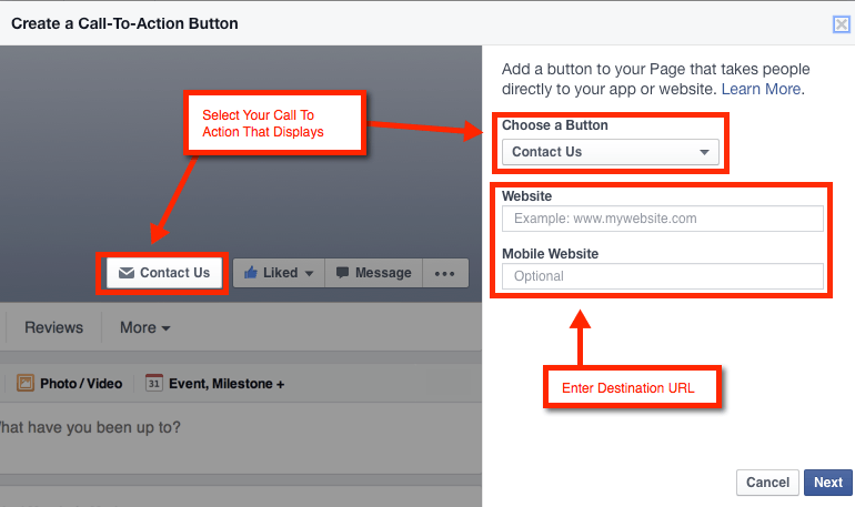 call to action example facebook