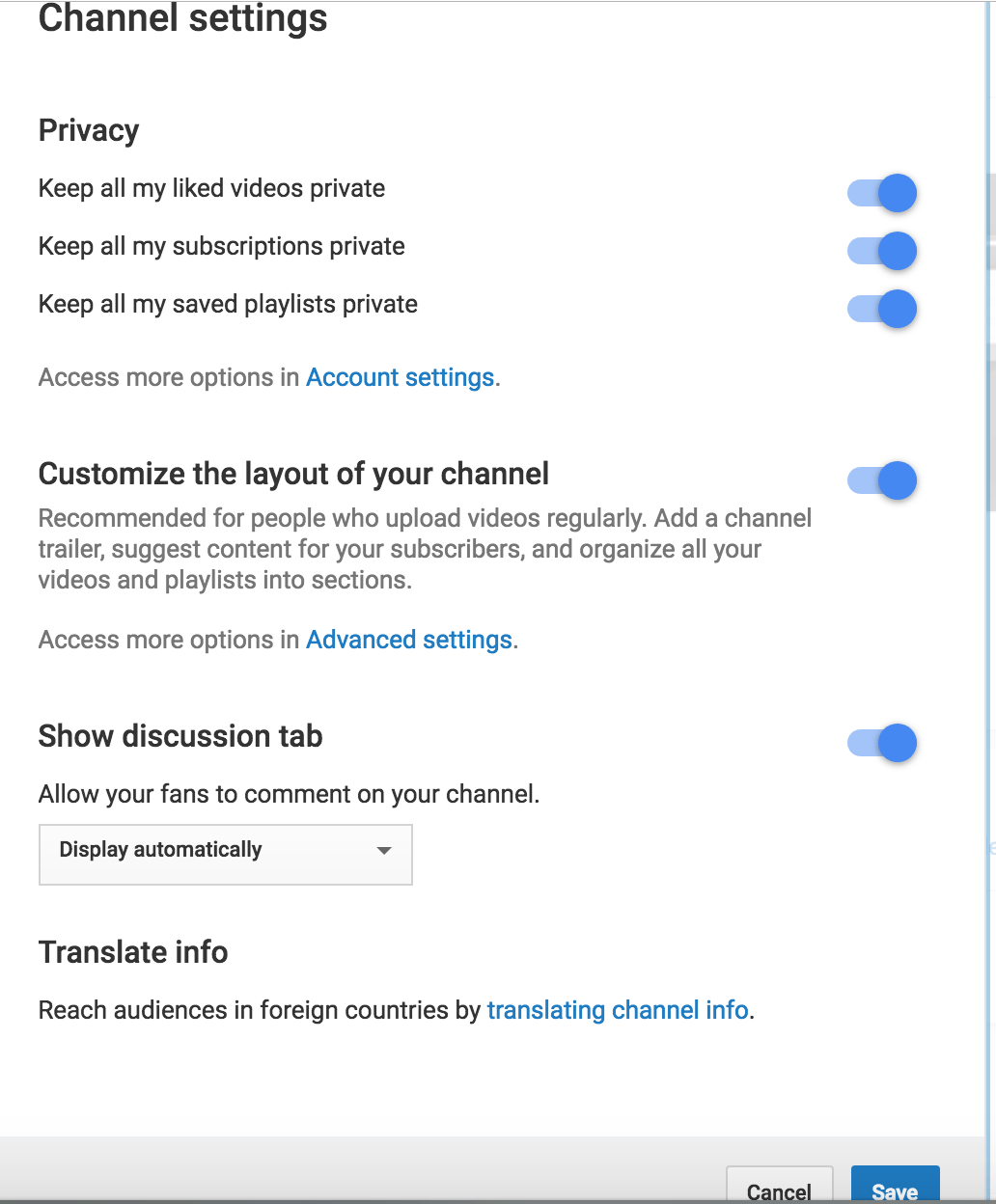 Channel settings youtube