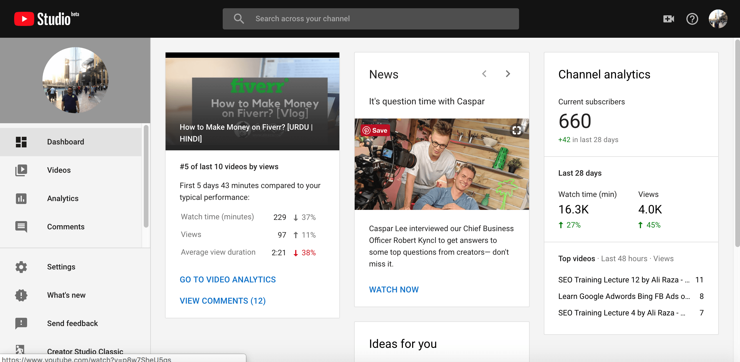 youtube studio beta