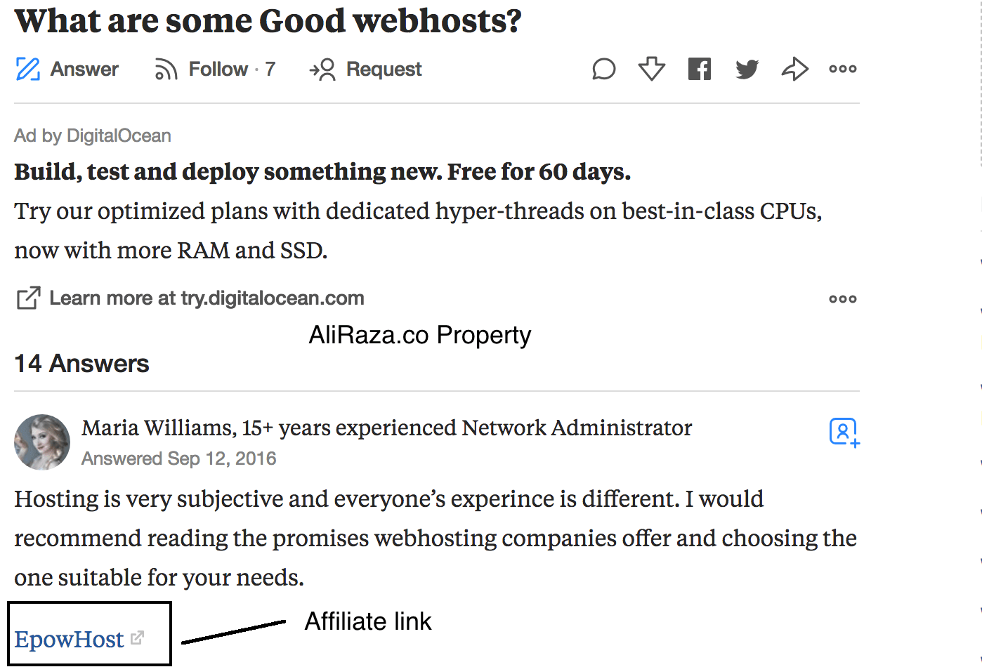 quora link sharing example