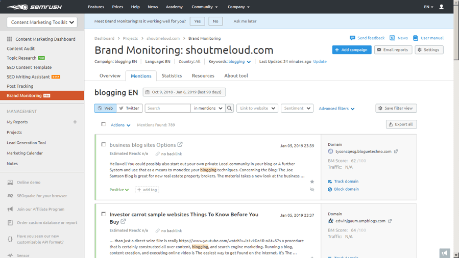 Brand Monitoring SEMRush 2