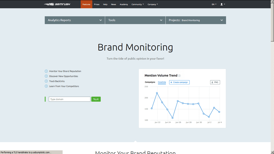 Brand Monitoring SEMRush