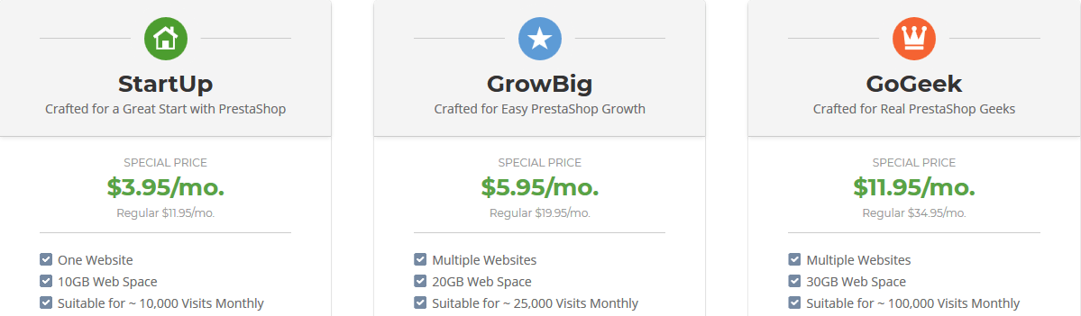 SiteGround PrestaShop Hosting Plans
