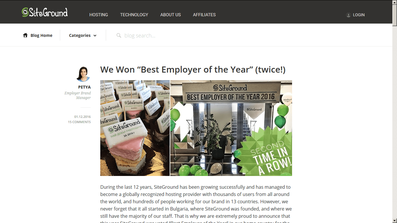 SiteGround The Best Employer of the Year 2016