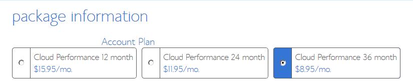 Cloud Hosting - Performance Package Information