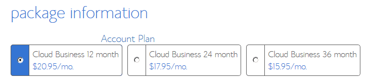 Cloud Hosting - Business Pro Package Information