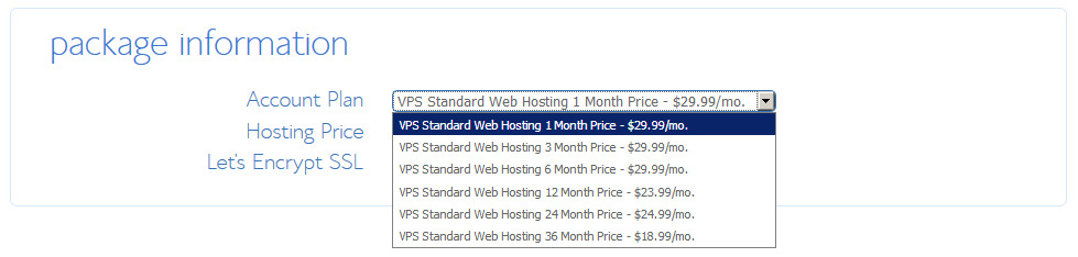 Bluehost VPS Hosting - Standard Package Information