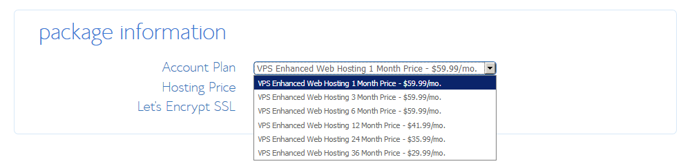 VPS Hosting - Enhanced Package Information Bluehost