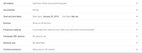 additional settings google ads