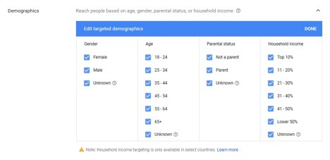demographics google ads settings